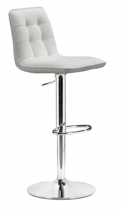 Stool DESIRE (L), Chrome, Upholstered White
