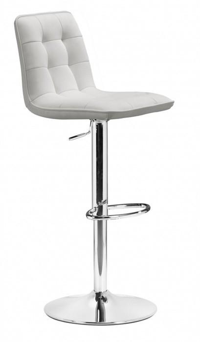 Stool DESIRE (L), Chrome, Upholstered White