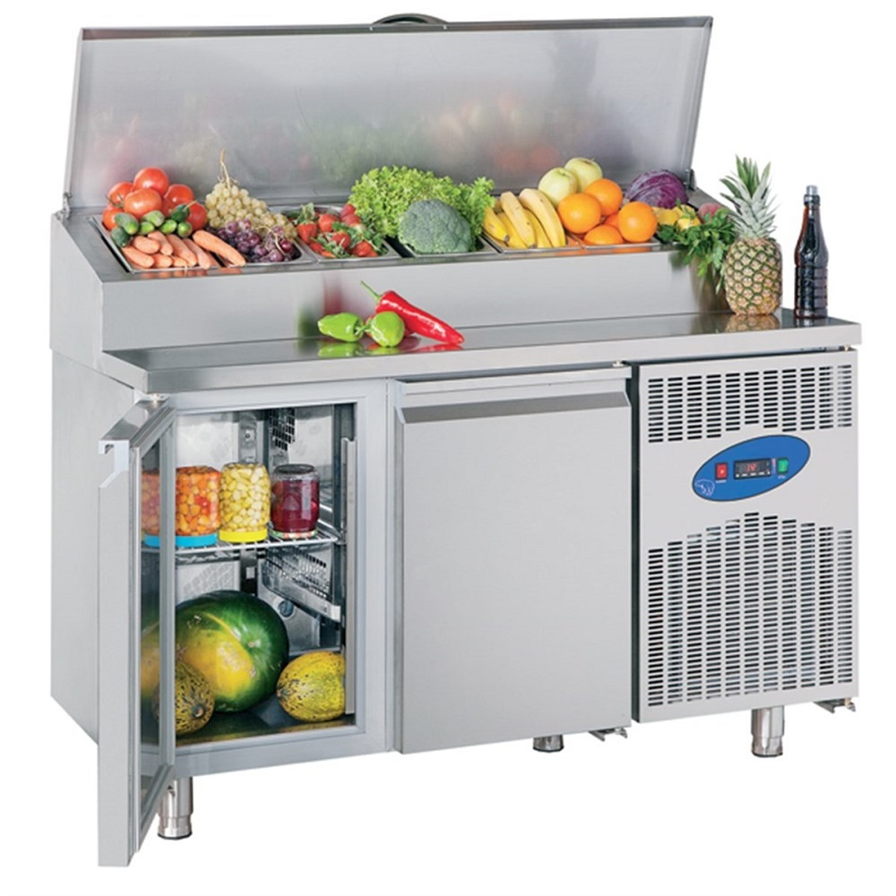 Commercial Countertop Refrigerated Buffet Catering Food Display Sandwiches Pizza Bar Prepare Working Bench Work Table Chiller