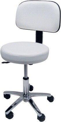 Stool WORK 4, Chrome, Gas, Upholstered Similpiel Black Or White