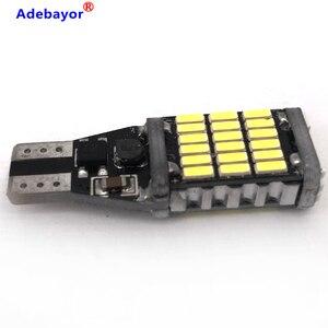 Image 2 - Canbus, 100 pièces, lampe de stop supplémentaire T15 t10 45 SMD 4014 LED, lumière de marche arrière pour voiture, lumière blanche de jour, 12V 24V, pièces