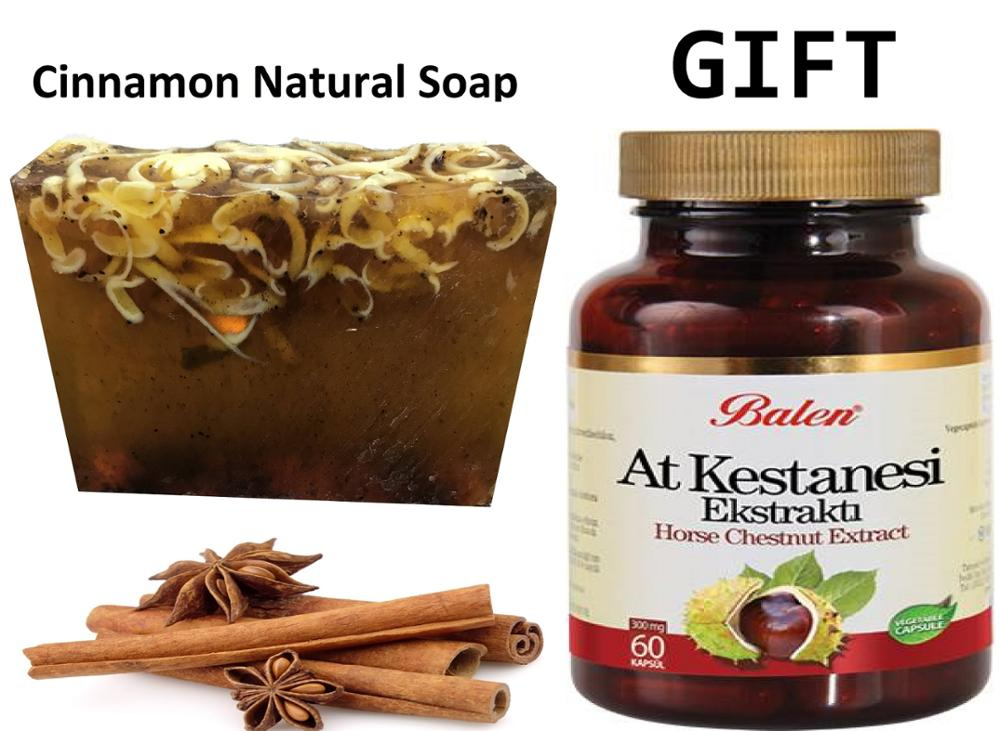 Anti Acne Cinnamon Natural Handmade Soaps 100 Gr+Gift Food Supplement Horse Chestnut Extract Organic Natural Product 60 Capsules