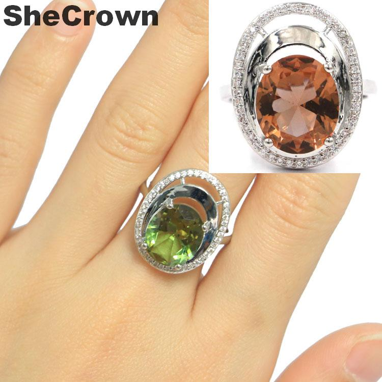 20x16mm Ravishing Oval Shape Created Color Changing Spinel White CZ Gift For Woman's Silver Rings