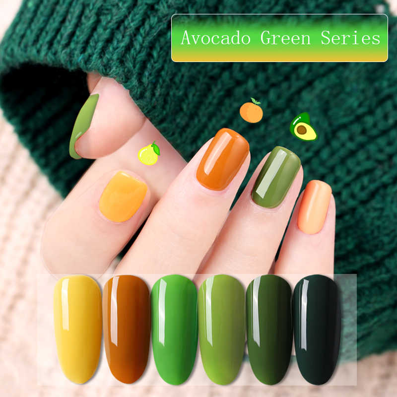 Hot venduto Più Nuovo Avocado UV Del Gel Del Chiodo Narl Art Soak Off Hybrid Vernice UV HA CONDOTTO LA Lampada Verde Giallo Serie gel Polish