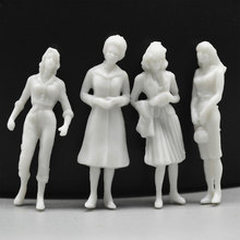 10Pcs/lot 35mm 1:50 Scale Model Figures Miniature White People Architectural Train Human Diorama Building Layout Plastic