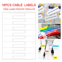 18pcs Waterproof White Cable Labels A4 Self Adhesive Cable Marking Stickers For Laser Printer Marking Etiquette Identification