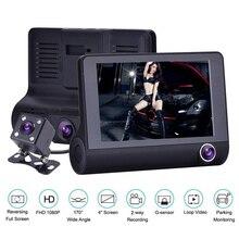 "4"" 1080P Car DVR 3 Cameras Lens Dash Camera Full HD Dual Lens Cameras Video Recorder With Rearview Camera Auto Monitor Registrar цены"