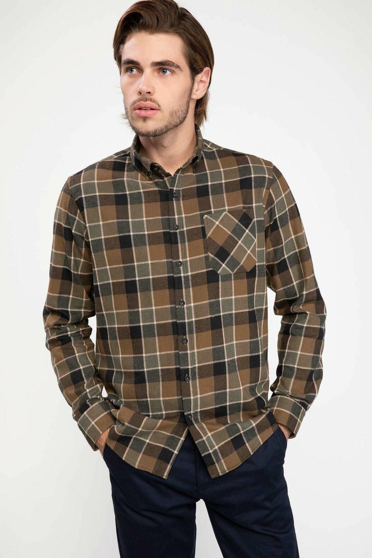DeFacto New Man Fashion Long Sleeve Shirt Male Casual Plaid Loose Shirts Men's Comfort Tops High Quality Autumn  - J4175AZ18WN