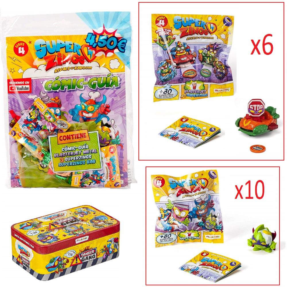 SuperZings Series 4-Pack Surprise With 18 Sets-1 Stock Exchange Starterpack-10 Envelopes One Pack, 6 BlasterJets And 1 Tin Danger Gang