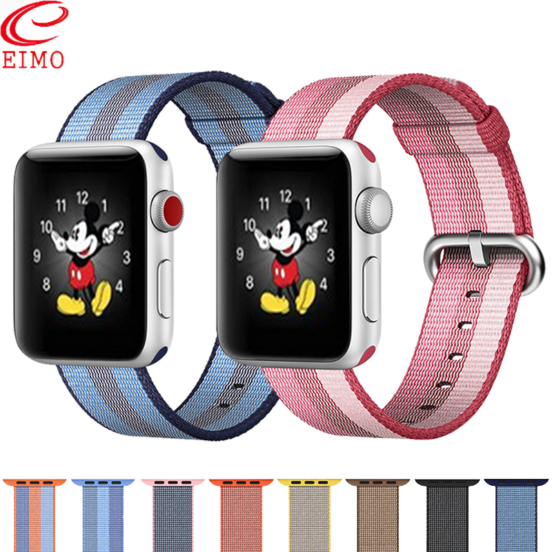 EIMO Nato Strap For Apple Watch Band 44mm 40mm Apple Watch 5 4 3 2 Iwatch Band 42mm 38mm Correa Woven Nylon Bracelet Watchband