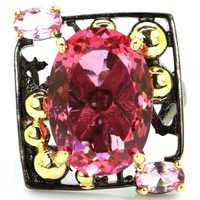 23x21 мм специальные возвышенные старинные 18x13 мм розовые морганиты подарок для дам серебряные кольца