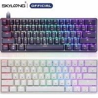 Skyloong-Teclado mecánico GK61 SK61 AK61, inalámbrico por Bluetooth, Gateron, Mx, RGB, retroiluminación, Mini, portátil, 60%, 61 teclas, para videojuegos
