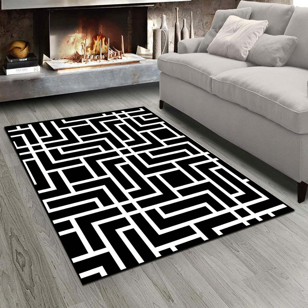 Else Black White Mixed Lines Stripes Nordec 3d Print Non Slip Microfiber Living Room Modern Carpet Washable Area Rug Mat