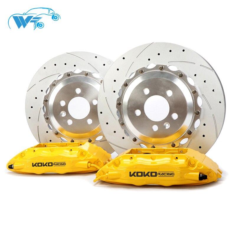 KOKO RACING upgrade racing cars brake system factory price 4 pot red brake caliper,Concave mouth 55cm brake oil hose for Audi