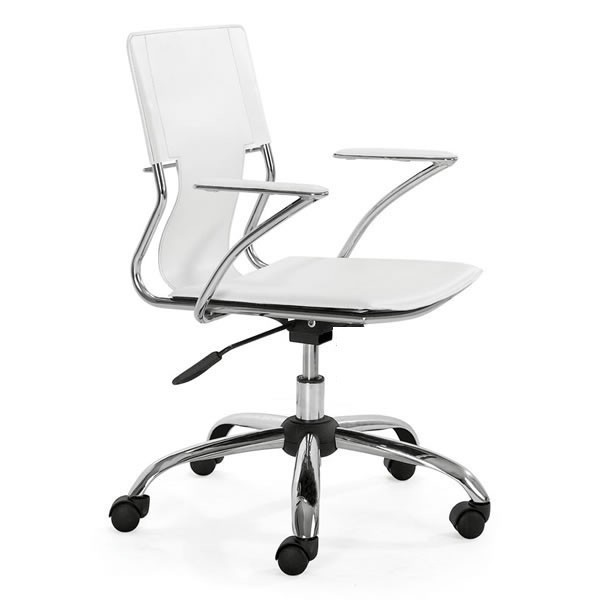 Office Armchair BERLIN, Rotating, Plating, Nappel White