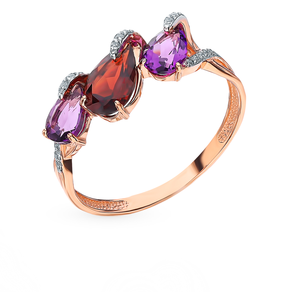 Gold Ring With Amethyst, Cubic Zirconia And Garnet Sunlight Sample 585