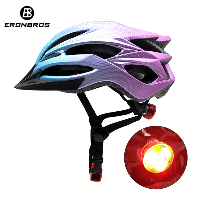 Bicicleta de montanha capacete com luz led vermelho e viseira de sol das mulheres dos homens leve estrada ciclismo capacete da bicicleta esportes equipamentos 1