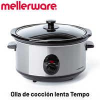 Mellerware - Tempo Olla de cocción Lenta, minimo Consumo 240W, cocción a Baja Temperatura, 4 Funciones, 3.5L, Olla de cerámica
