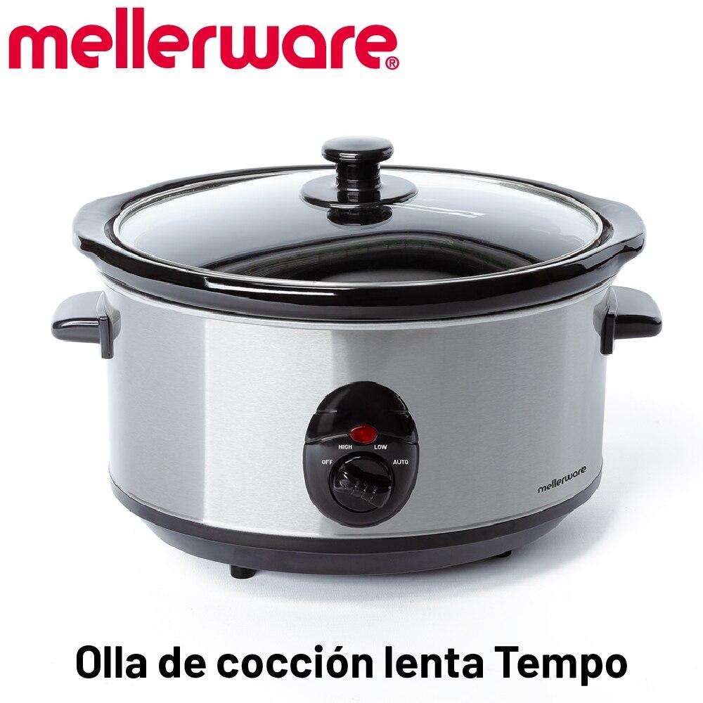 Mellerware-Tempo Olla de cocción Lenta, minimo consomo 240 W, cocción a Baja températura, 4 Funciones, 3.5L, Olla de cerámica e