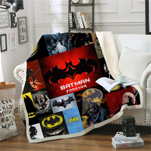 Batman Spiderman Printed Sherpa Blanket Couch Sofa Cover Travel Youth Bedding Outlet Fleece Blanket Bedspread Thick Tapestry(China)