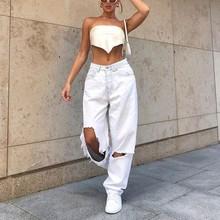 Cintura alta buraco rasgado jeans branco feminino y2k vintage 90s denim calças retas streetwear oco namorado baggy denim calças