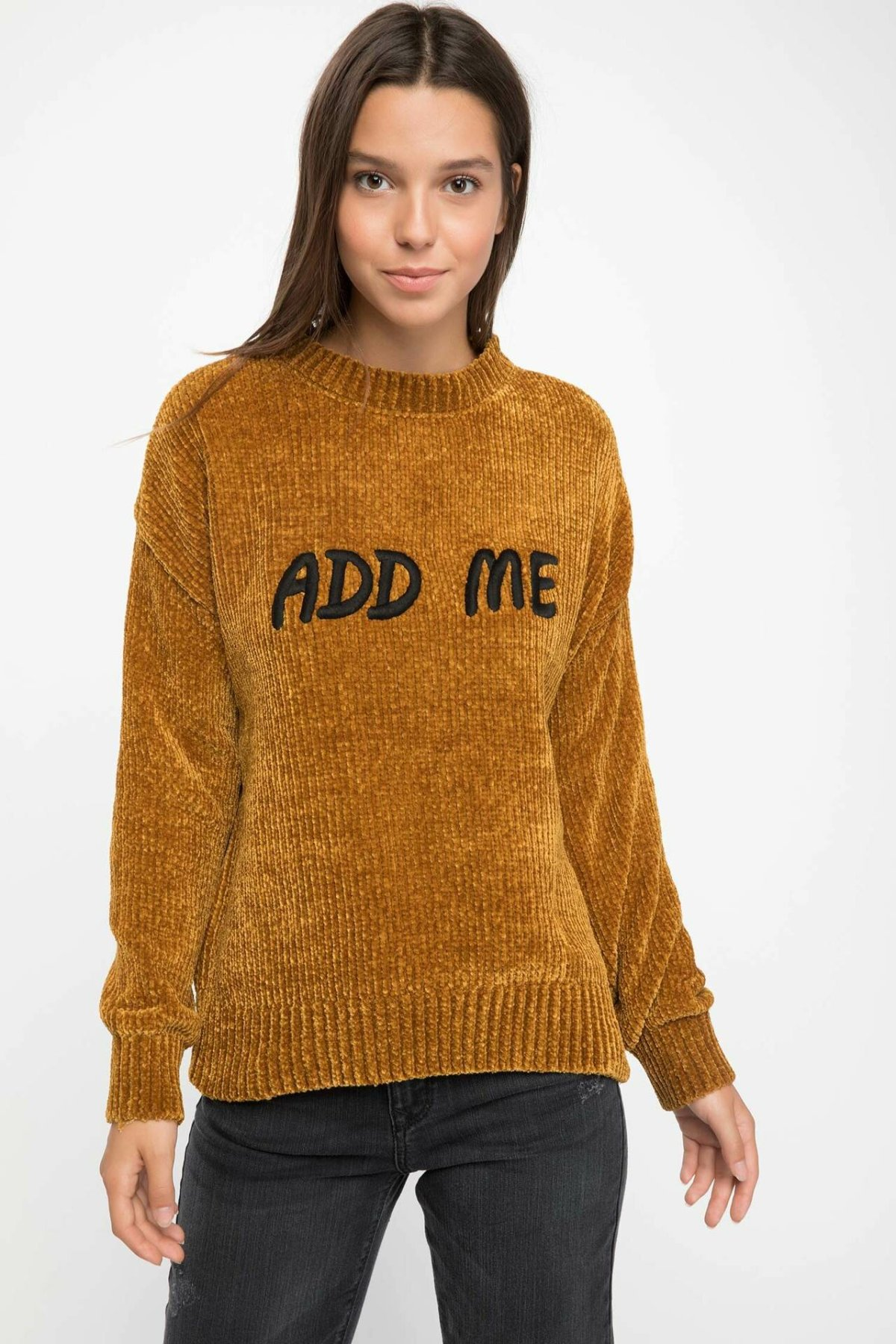 DeFacto Women Fashion O-neck Chic Letter Prints Pullovers Solid Knitted Sweatshirts Simple Casual Sweatshirts-I7517AZ18AU
