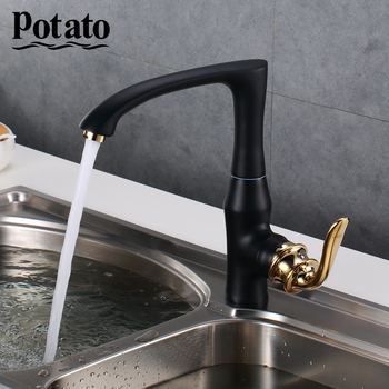 Potato Kitchen Faucet Cold and Hot Black Chrome Kitchen Tap Sink Deck Mounted Torneira Cozinha Mixer Water Taps p40219- donyummyjo best quality wholesale and retail kitchen sink black water faucet 360 degree rotating deck mounted kitchen mixer taps