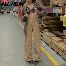 ALLNeon Indie estetica pantaloni larghi in velluto a coste tinta unita Y2K moda pantaloni larghi a vita alta Vintage anni '90 Streetwear pantaloni marroni