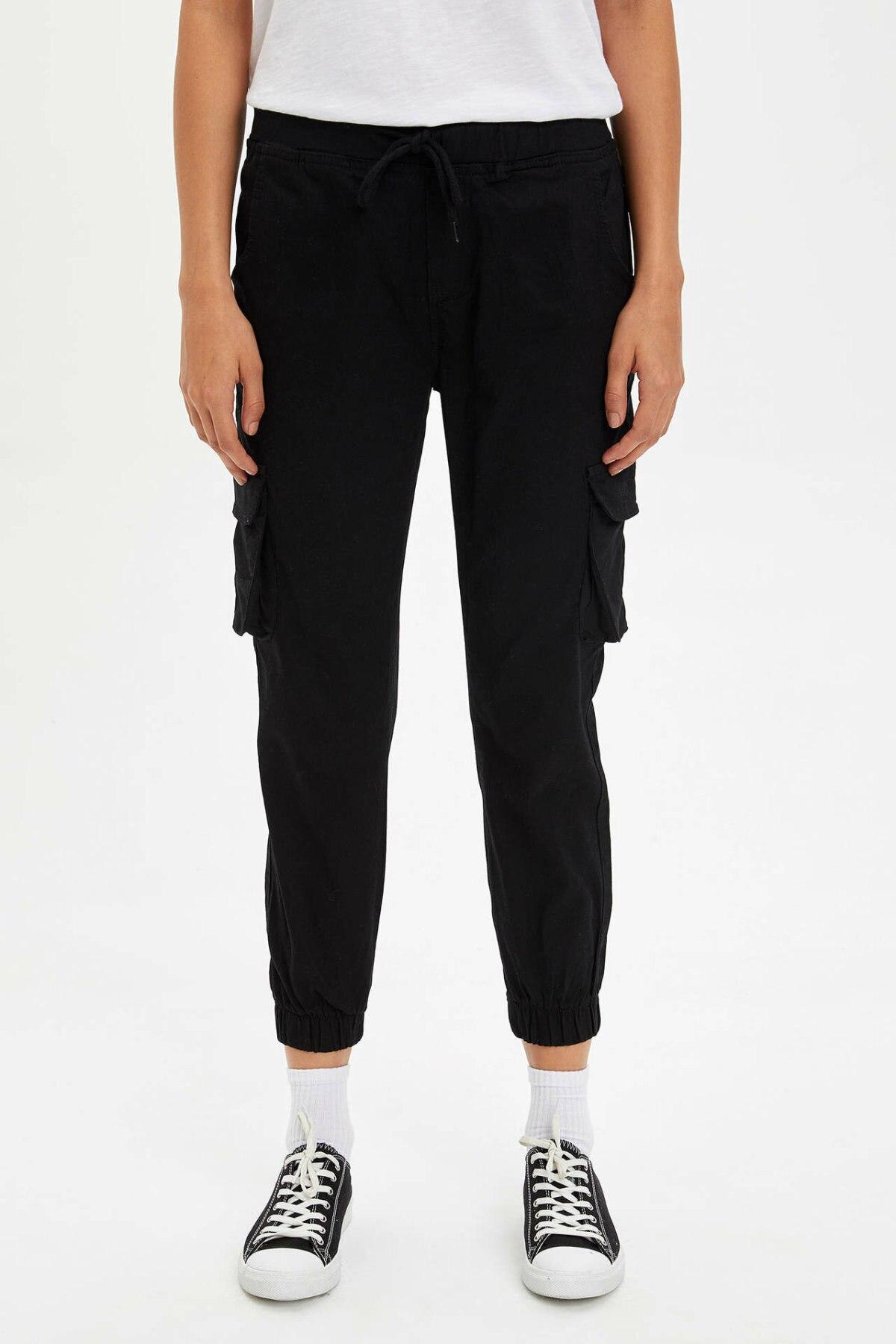 DeFacto Woman Winter Black Ninth Pants Women Casual Pocket Decors Bottom Lady Cargo Pants Trousers-N1422AZ19WN