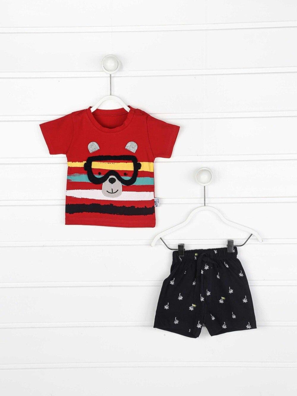 082-2223-002 Kırmızı Erkek Bebek Şortlu Takım (1)