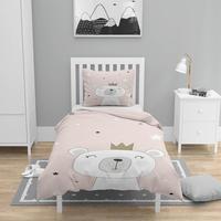 Mais 4 pçs rosa branco princesa urso nordec impressão 3d algodão cetim crianças capa de edredão conjunto cama fronha folha|Capa de edredom| |  -