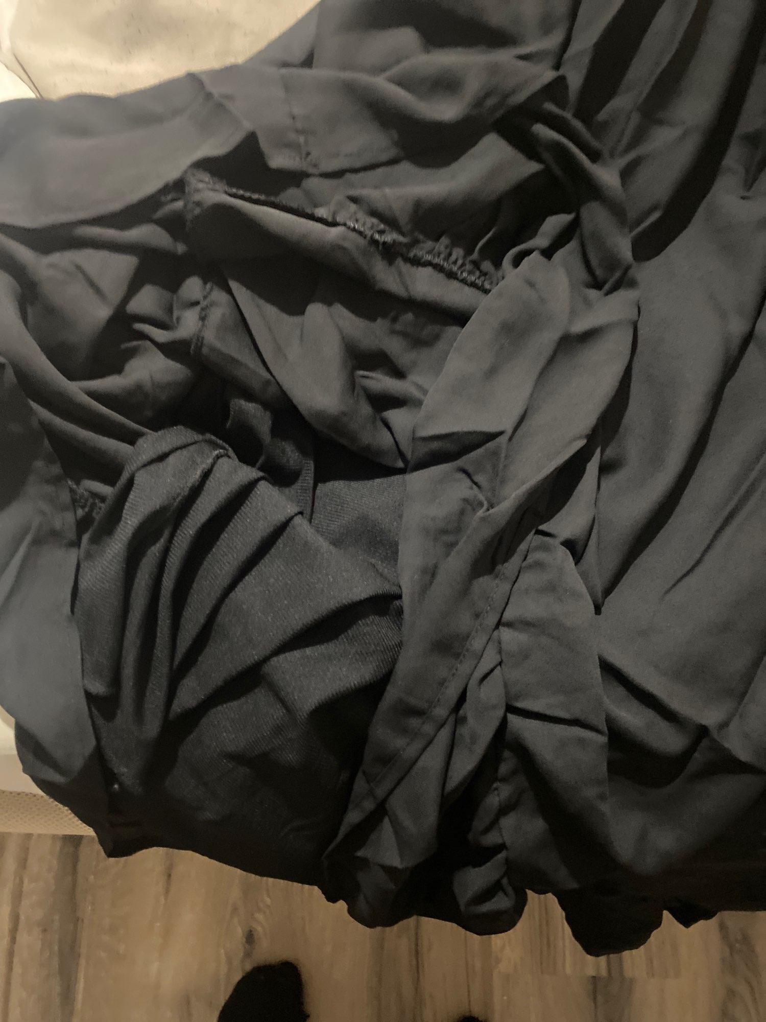 Hot 2019 autumn new fashion women's temperament commuter puff sleeve small high collar natural A word knee Chiffon dress reviews №2 239551