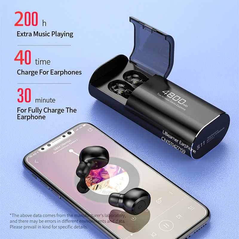 UbeamerแบบพกพาTWS Trueหูฟังไร้สายสเตอริโอทวิภาคีCallหูฟังบลูทูธ 5.0 หูฟังหูฟัง 4800mAh bank