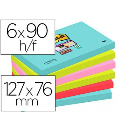 NOTEPAD STICKY NOTES REMOVABLE POST-IT SUPER STICKY 76X127 MM WITH 90 SHEET PACK 6 PCS COLORS MIAMI