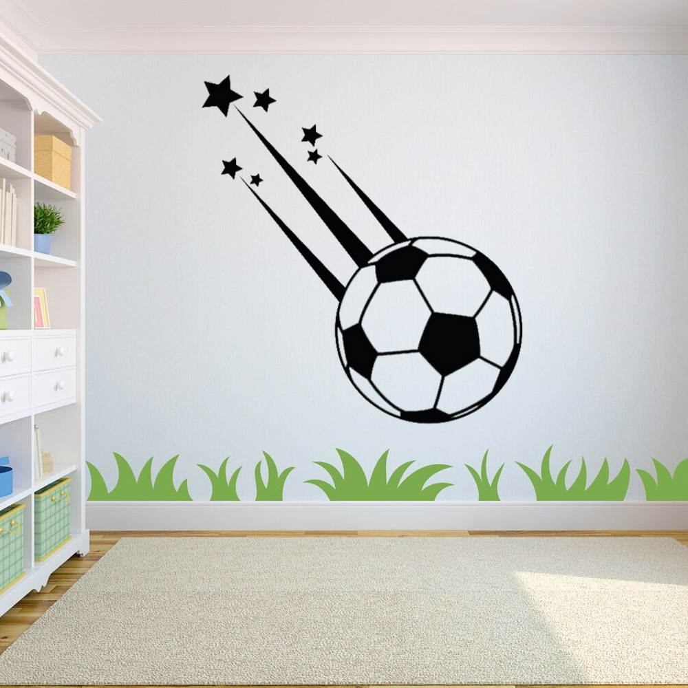 Newly Design Meteor Soccer Ball with star Silhouette Decor Wall Decal For Kids and Living room A0047