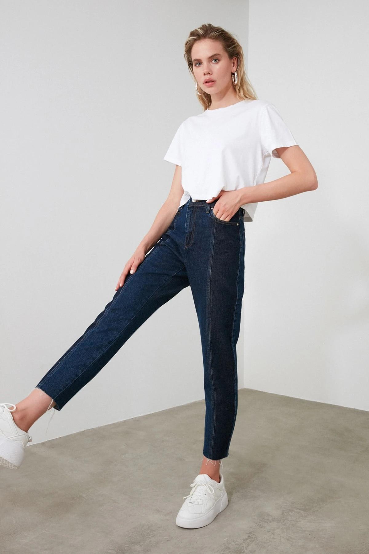 Синие джинсы с эффектом потертости и высоким берцем TWOAW20JE0109