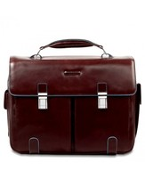 Piquadro Leather briefcase with 2 front pockets Blue Square CA1068B2