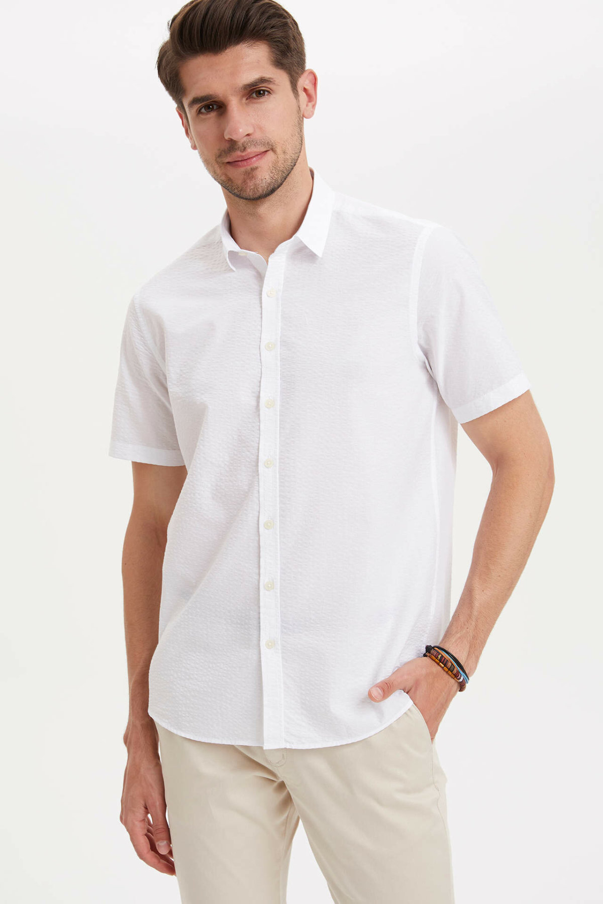 DeFacto Men Fashion White Lapel Collar Shirt Woven Top Short Sleeve Shirt Casual Simple Top Shirt-L6932AZ19SM