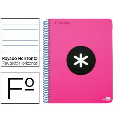 SPIRAL NOTEBOOK LEADERPAPER FOLIO ANTARTIK HARDCOVER 80H 100 GR HORIZONTAL WITH MARGENCOLOR FLUOR PINK