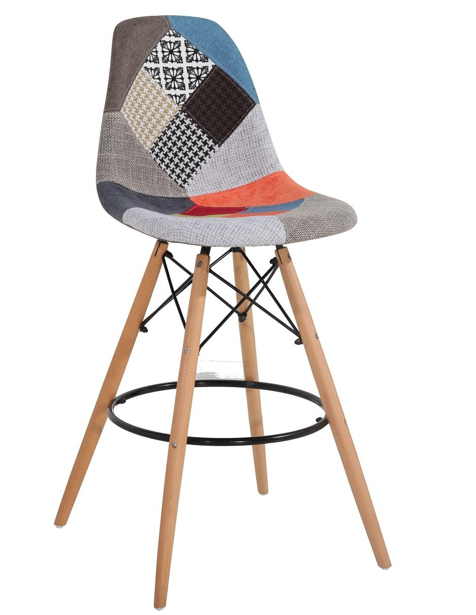 Stool TOWER Wood Upholstered Patchwork