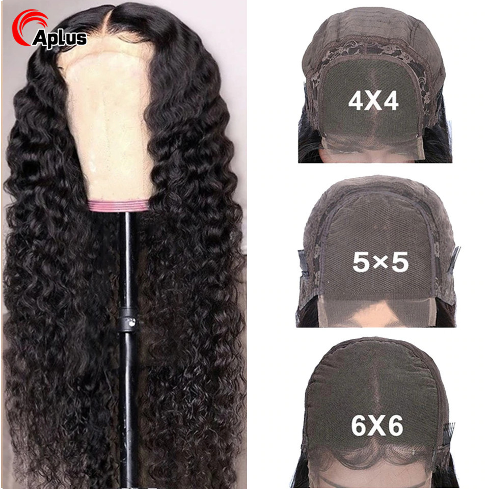 30 Inch Deep Wave Closure Wig Human Hair Peruvian 4x4 5x5 Lace Closure Wig 6x6 Transparent Lace Wigs Deep Wave Glueless 150 Remy