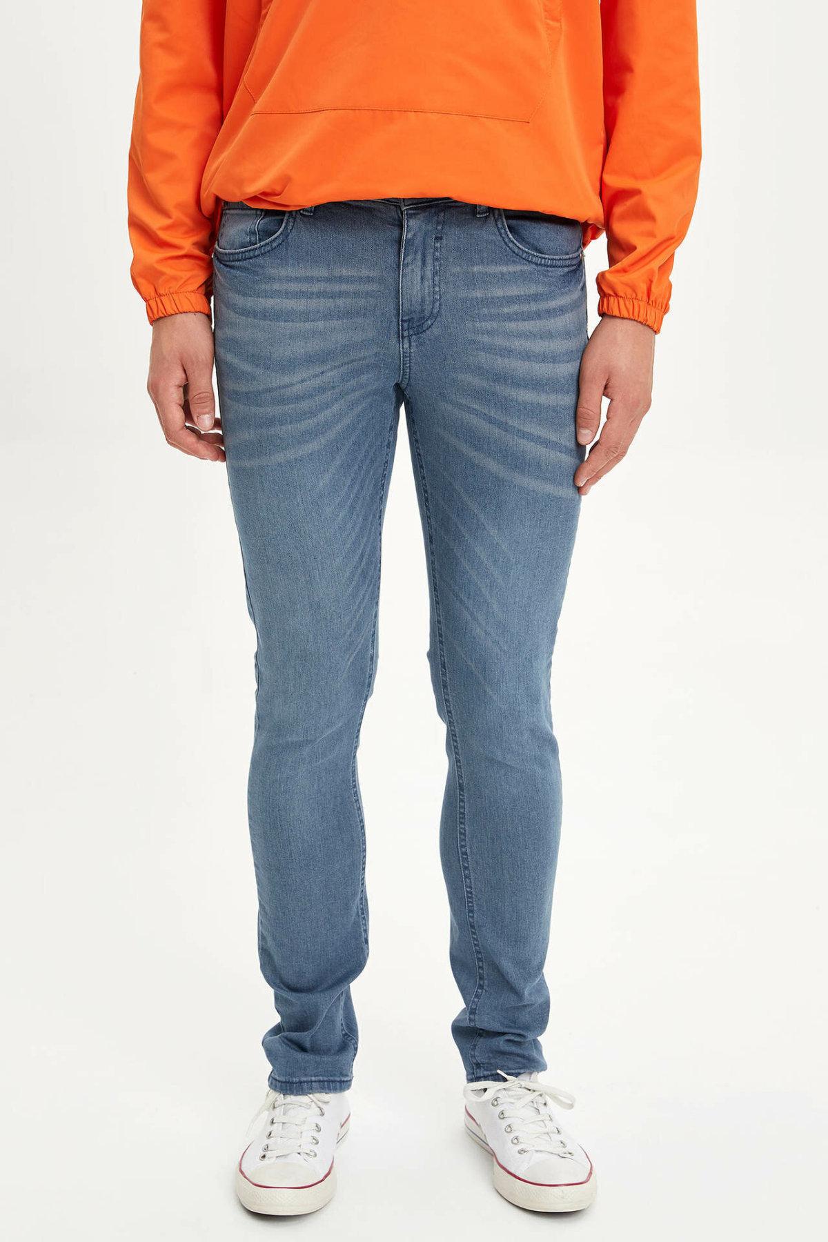 DeFacto Man Autumn Washed Denim Jeans Men Casual Striped Prints Denim Bottoms Male Slim Fit Denim Trousers-L6686AZ19AU
