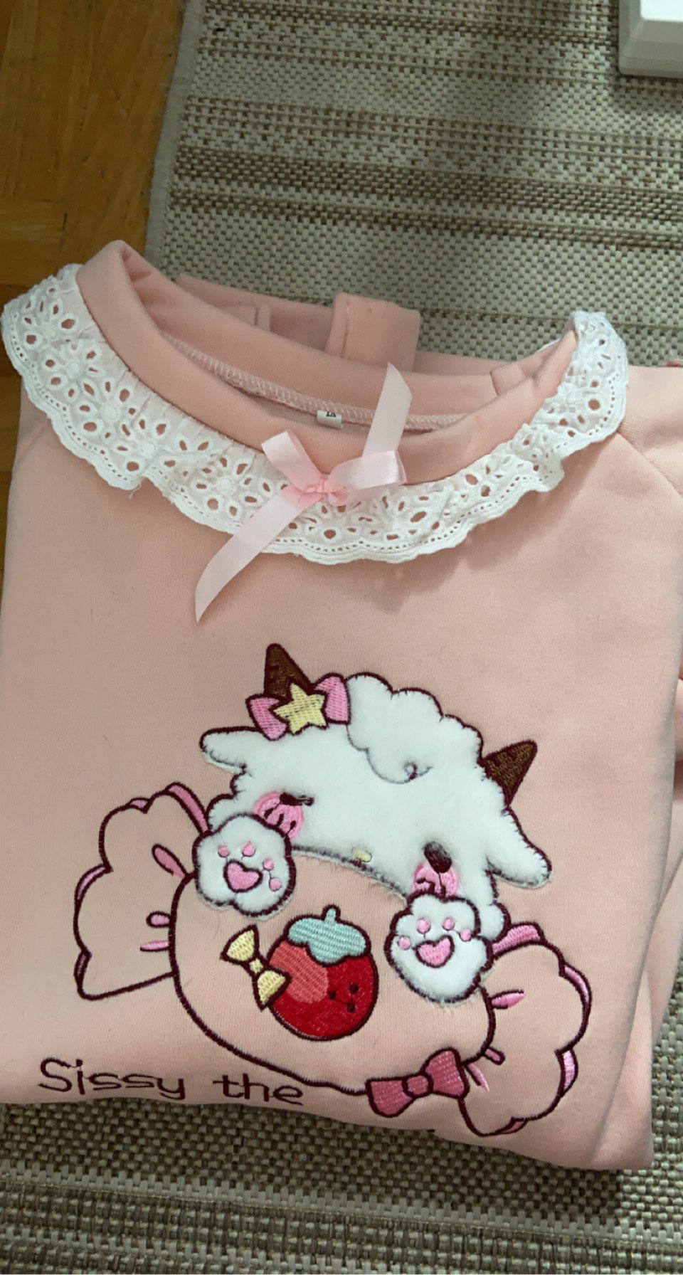 Harajuku Soft girl  Cute Pullover Lamb And Candy Embroidery photo review