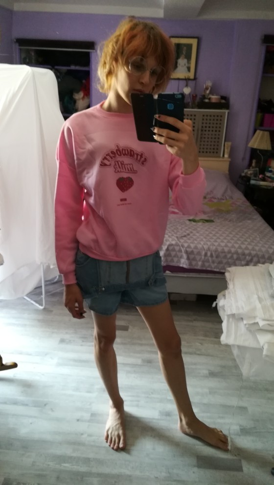 Harajuku Kawaii Strawberry Milk Hoodie Sweatshirt Tops Women Kpop Lolita Style Strawberry Sweatshirts Schoolgirl Streetwear photo review
