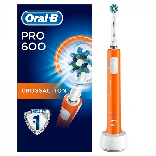 Braun Oral-B pro 600 crossaction brush orange rechargeable electric toothbrush with 3d technology image