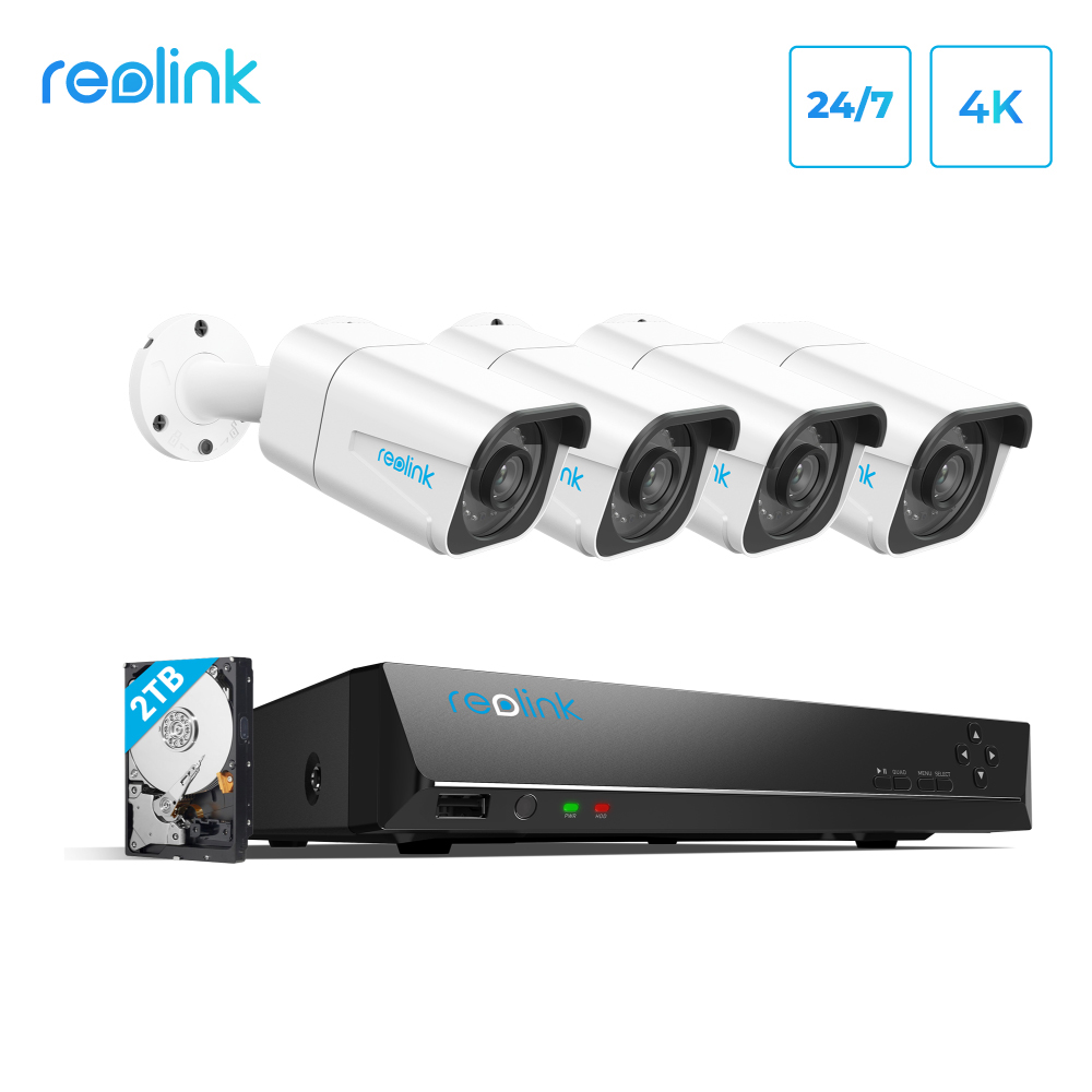 Reolink 8MP 4K Ultra HD Security Camera System 8ch PoE NVR & 4 PoE IP Cameras Surveillance NVR Kit 2TB HDD RLK8 800B4|Surveillance System| - AliExpress