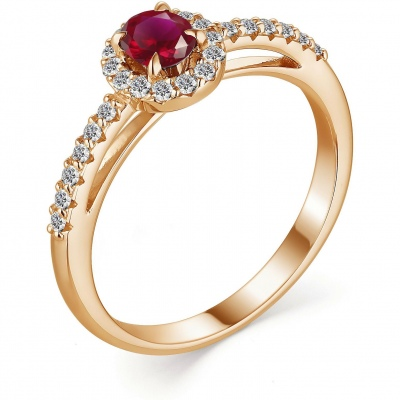 Alcor Ring With Ruby And Diamonds In Red Gold