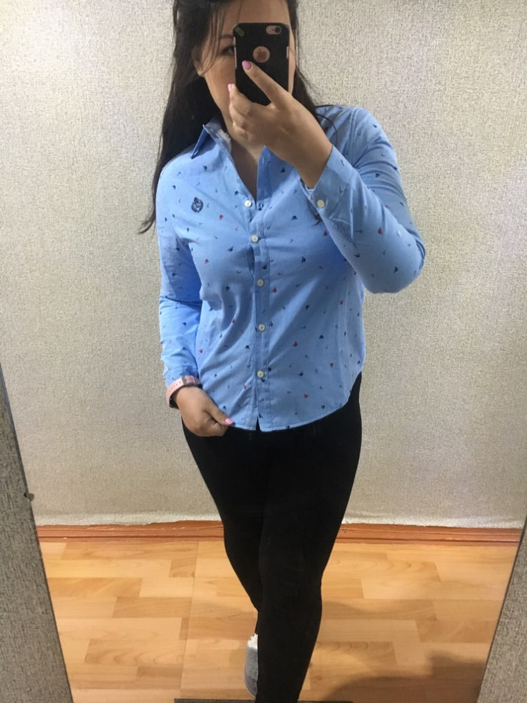 Print Casual Long Sleeves Loose Plus Size Shirt Woman Korean Autumn Winter Thick Warm Women Tops And Blouse Female photo review
