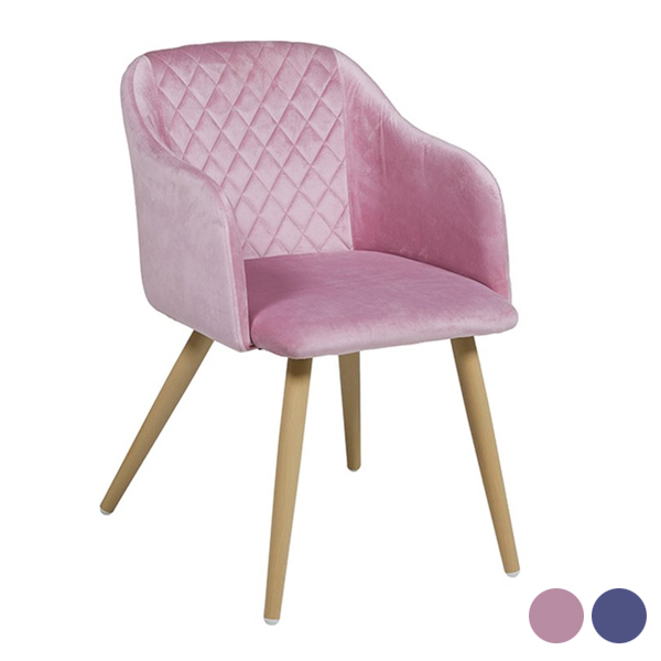 Dining Chair (54 X 62 X 76 Cm) Velvet Steel