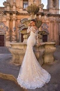 Image 5 - Женское свадебное платье с юбкой годе, кружевное платье невесты со съемной юбкой, аппликацией и длинным рукавом, на пуговицах сзади, 2020